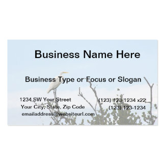 egret standing on tree painting business cards