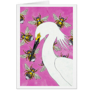 Egret with Bumblebees Card