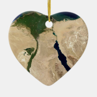 Egypt Aerial View Ceramic Heart Decoration