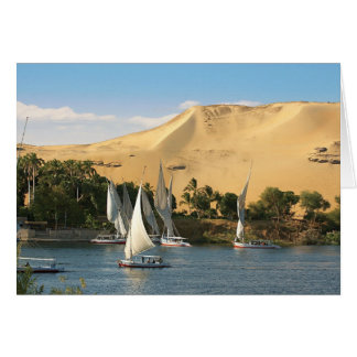 Egypt, Aswan, Nile River, Felucca sailboats, 2 Card