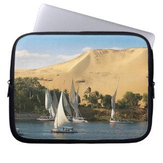 Egypt Aswan Nile River Felucca sailboats 2 Laptop Sleeve