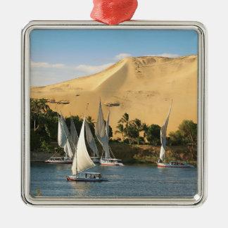 Egypt, Aswan, Nile River, Felucca sailboats, 2 Silver-Colored Square Decoration