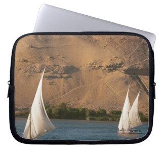 Egypt Aswan Nile River Felucca sailboats Computer Sleeves