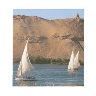 Egypt, Aswan, Nile River, Felucca sailboats, Notepad