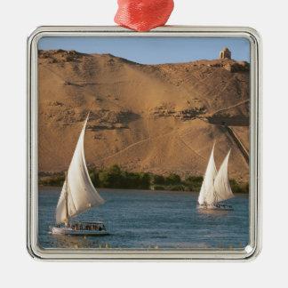 Egypt, Aswan, Nile River, Felucca sailboats, Silver-Colored Square Decoration
