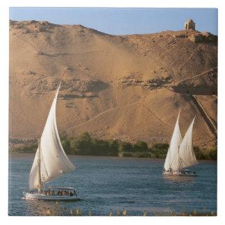 Egypt, Aswan, Nile River, Felucca sailboats, Tile