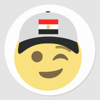 Egypt Emoji Baseball Hat Classic Round Sticker