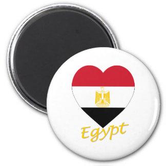 Egypt Flag Heart 6 Cm Round Magnet