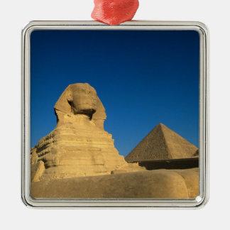 Egypt, Giza, The Sphinx, Old Kingdom, Unesco Silver-Colored Square Decoration