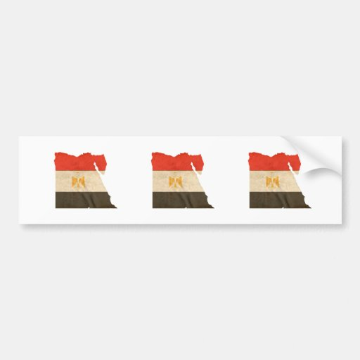 EGYPT MAP and FLAG Bumper Sticker