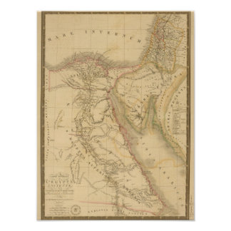 Egypt, Palestine and Arabia Map Poster