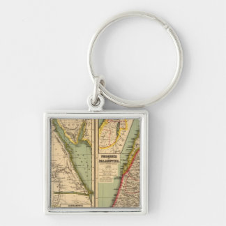 Egypt, Phoenicia and Palestine Silver-Colored Square Key Ring