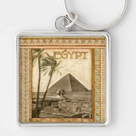 Egypt, Pyramid Silver-Colored Square Key Ring