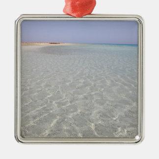 Egypt, Red Sea, Marsa Alam, Sharm El Luli, Beach 2 Silver-Colored Square Decoration