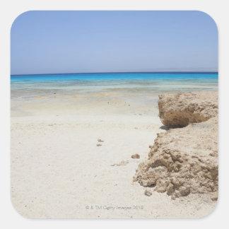 Egypt, Red Sea, Marsa Alam, Sharm El Luli, Beach Square Sticker
