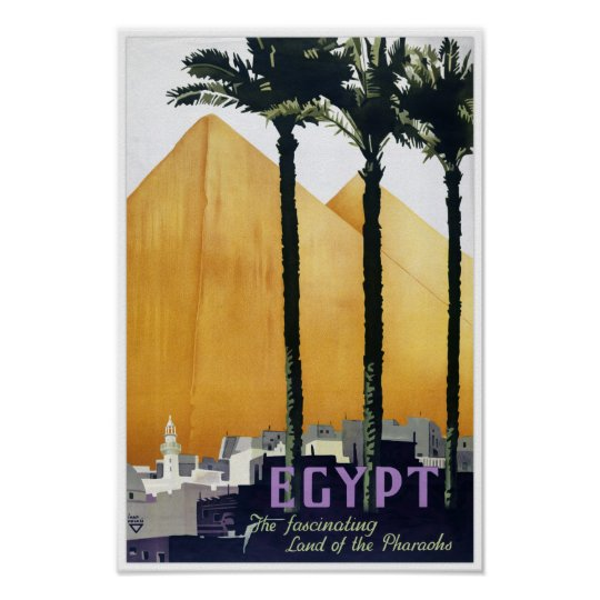 Egypt vintage travel poster Restored