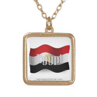 Egypt Waving Flag Gold Plated Necklace