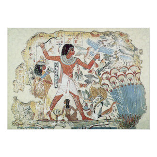 egyptian / african hunting scene tablet freeze poster
