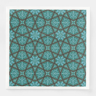 Egyptian arabic geometric in vintage blue and grey disposable serviettes