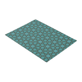 Egyptian arabic geometric in vintage blue and grey doormat