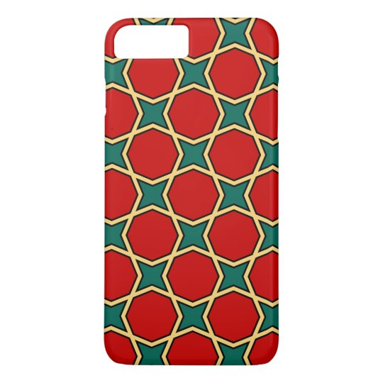 Egyptian arabic geometric pattern in red and green