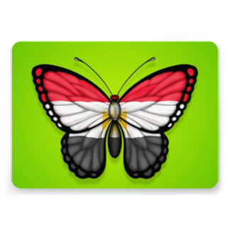 Egyptian Butterfly Flag on Green Personalized Announcement