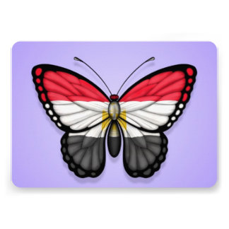Egyptian Butterfly Flag on Purple Custom Invite