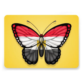 Egyptian Butterfly Flag on Yellow Personalized Invitations