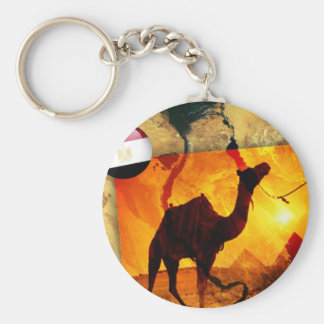 Egyptian camel basic round button key ring