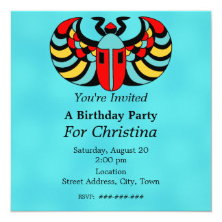 Egyptian Colorful Vibrant Scarab Beetle Birthday Card