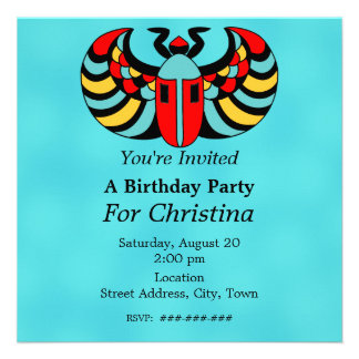 Egyptian Colorful Vibrant Scarab Beetle Birthday Personalized Announcement