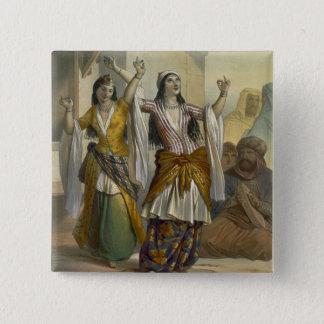 Egyptian Dancing Girls Performing the Ghawazi at R 15 Cm Square Badge