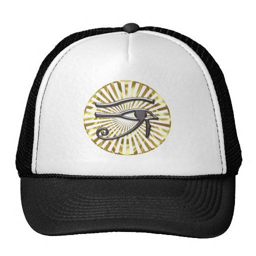 Egyptian Eye of Horus Gold and Black Mesh Hat