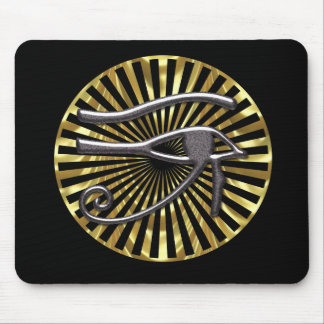 Egyptian Eye of Horus Gold and Black Mousepad