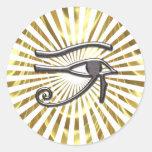 Egyptian Eye of Horus Gold and Black Round Sticker