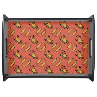 Egyptian Fish and Crocodile on Red Serving Tray