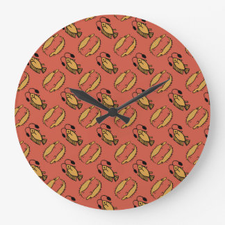 Egyptian Fish and Crocodile, Red Round Wall Clock