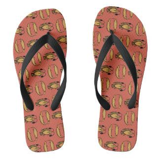 Egyptian Fish, Crocodile on Rusty Red Flip Flops