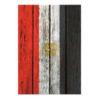 Egyptian Flag with Rough Wood Grain Effect Invitations