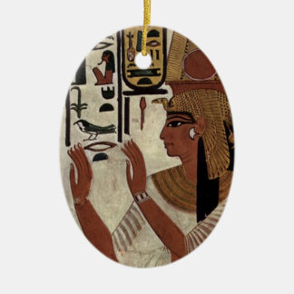 Egyptian goddess hieroglyphics pattern ceramic oval decoration