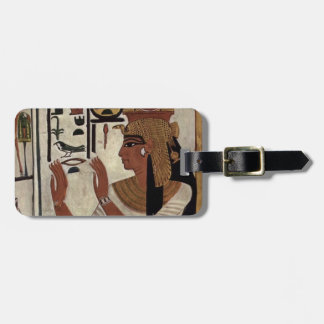 Egyptian goddess hieroglyphics pattern luggage tag