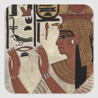 Egyptian goddess hieroglyphics pattern square sticker