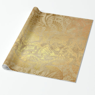 Egyptian Gold Scroll Design Gift Wrapping Paper