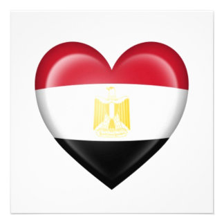 Egyptian Heart Flag on White Personalized Invite