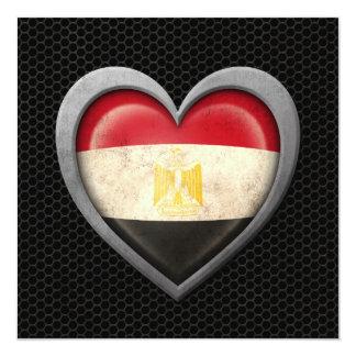 Egyptian Heart Flag Steel Mesh Effect 13 Cm X 13 Cm Square Invitation Card