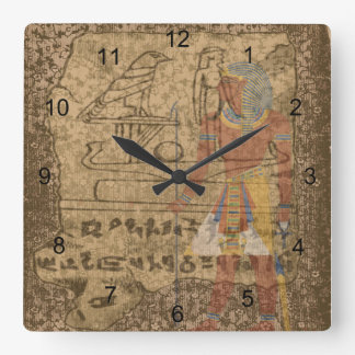Egyptian Hieroglyphic Square Wall Clock