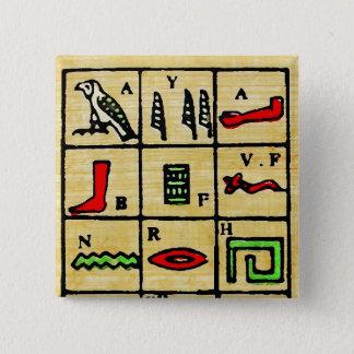 Egyptian Hieroglyphics, Alphabetic Symbols 15 Cm Square Badge