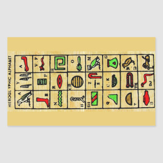 Egyptian Hieroglyphics, Alphabetic Symbols Rectangular Sticker