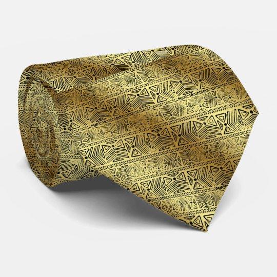 Egyptian Hieroglyphics Gold Black tie