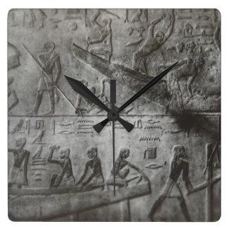Egyptian Hieroglyphics Square Wall Clock